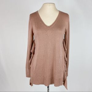 Cupio Tan Ruffle Side V-neck Sweater